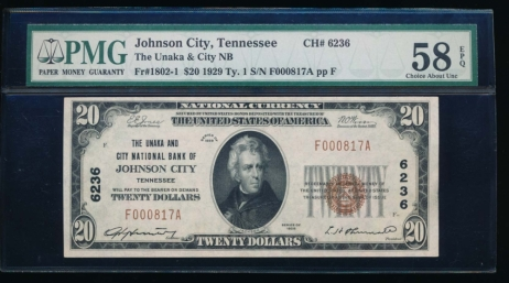 Fr. 1802-1 1929 $20  National: Type I Ch #6236 The Unaka and City National Bank of Johnson City, Tennessee PMG 58EPQ F000817A
