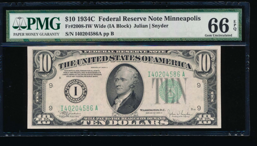 Fr. 2008-I 1934C $10  Federal Reserve Note Wide, Minneapolis PMG 66EPQ I40204586A