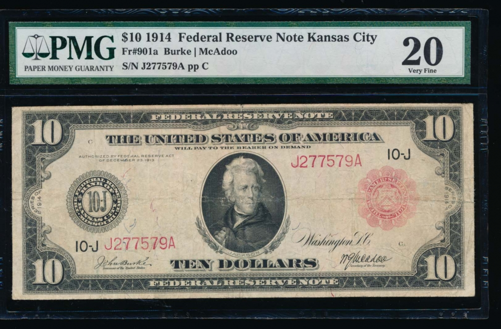 Fr. 901a 1914 $10  Federal Reserve Note red seal Kansas City PMG 20 J2777579A