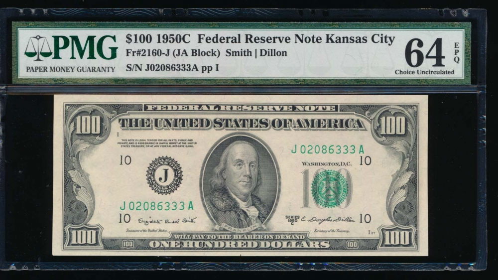 Fr. 2160-J 1950C $100  Federal Reserve Note Kansas City PMG 64EPQ J02086333A