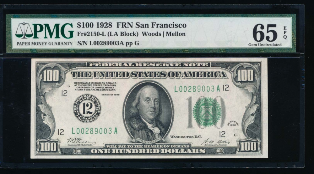 Fr. 2150-L 1928 $100  Federal Reserve Note San Francisco PMG 65EPQ L00289003A
