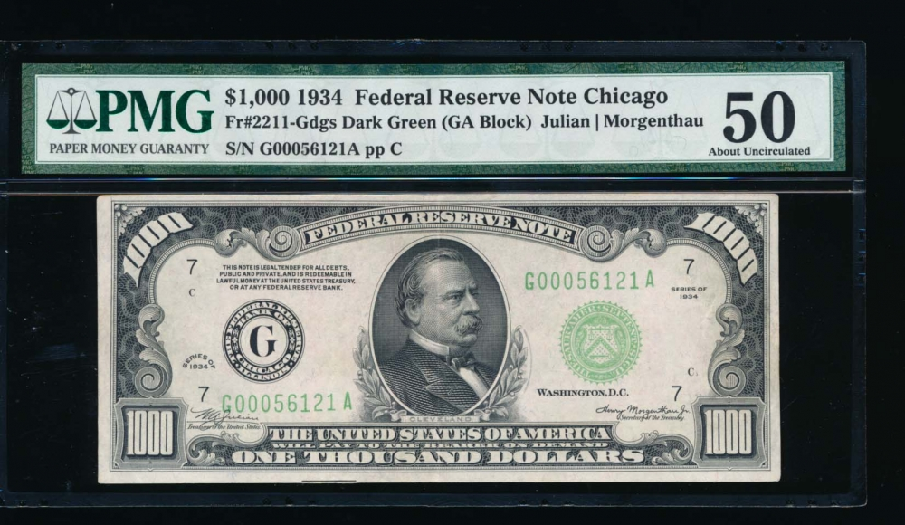 Fr. 2211-G 1934 $1,000  Federal Reserve Note Chicago PMG 50 comment G00056121A obverse