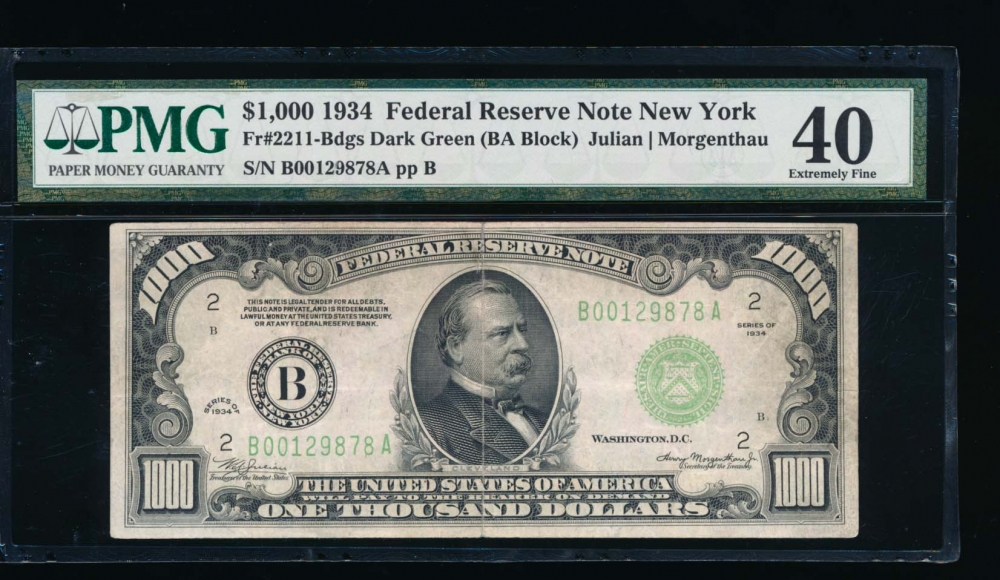 Fr. 2211-B 1934 $1,000  Federal Reserve Note New York PMG 40 comment B00129878A