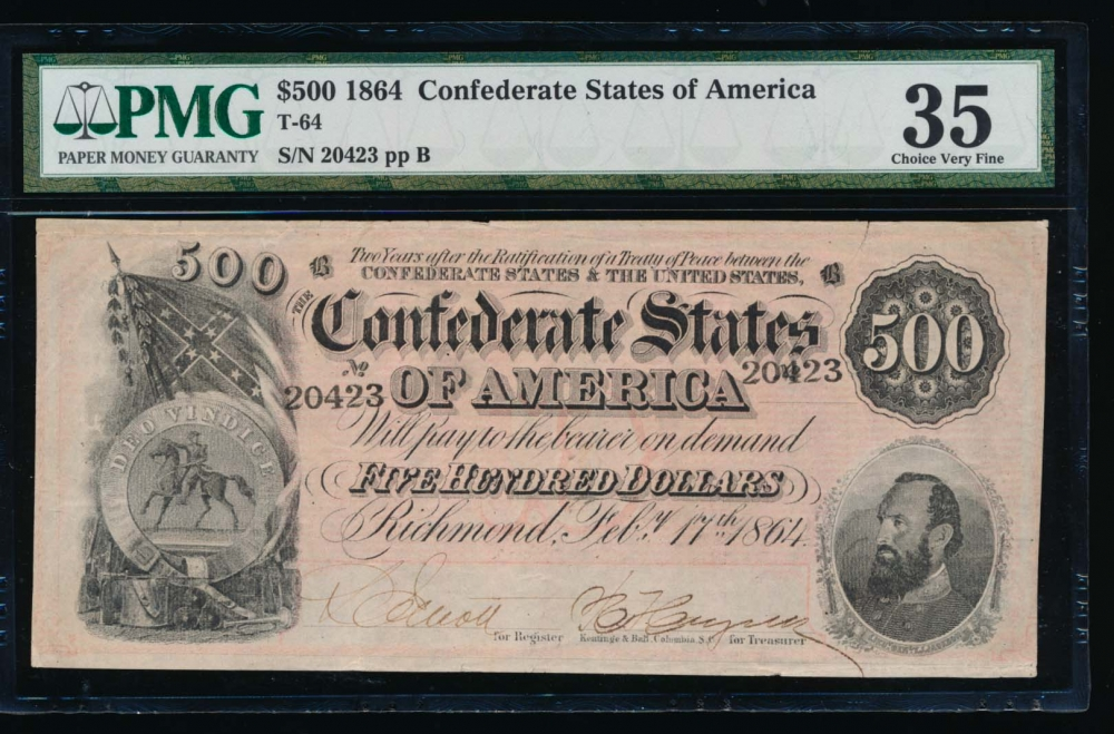 Fr. T-64 1864 $500  Confederate  PMG 35 comment 20423
