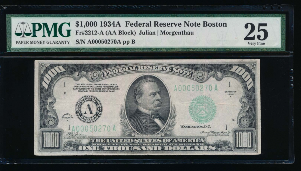 Fr. 2212-A 1934A $1,000  Federal Reserve Note Boston PMG 25 A00050270A