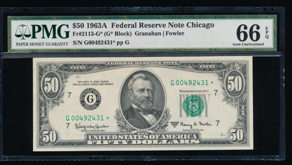 Fr. 2113-G 1963A $50  Federal Reserve Note Chicago star PMG 66EPQ G00492431* obverse