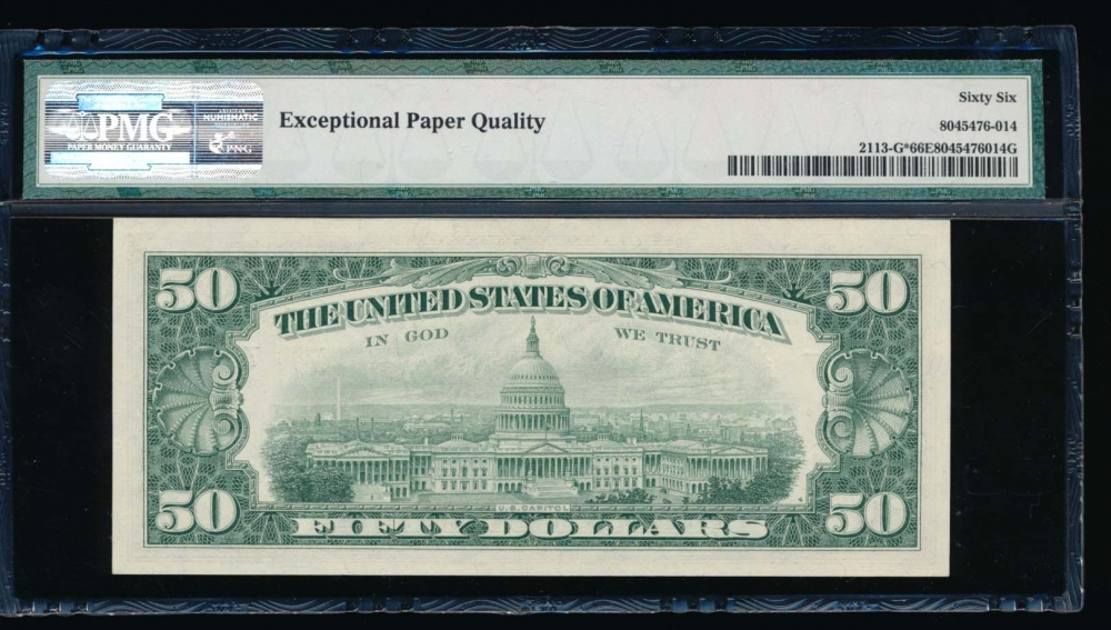 Fr. 2113-G 1963A $50  Federal Reserve Note Chicago star PMG 66EPQ G00492431* reverse