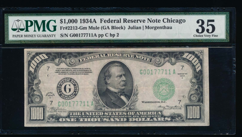 Fr. 2212-G 1934A $1,000  Federal Reserve Note Chicago PMG 35 G00177711A