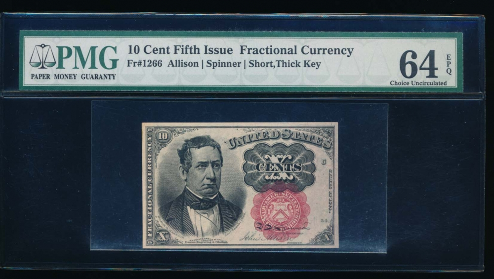 Fr. 1266  $0.10  Fractional Fifth Issue: Short, Thick Key PMG 64EPQ no serial number