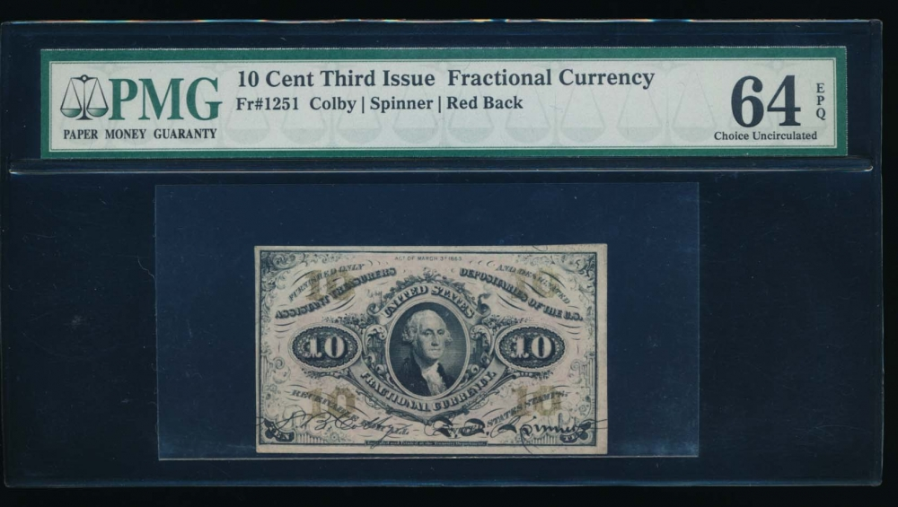 Fr. 1251  $0.10  Fractional Third Issue: Red Back PMG 64EPQ no serial number