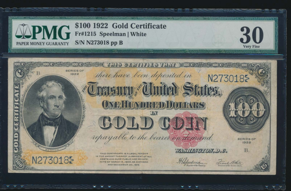 Fr. 1215 1922 $100  Gold Certificate  PMG 30 N273018