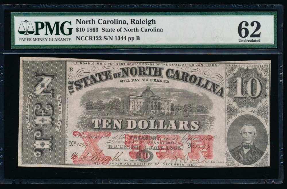 Fr. Cr NC-122 1863 $10  Obsolete State of North Carolina, Raleigh PMG 62 1344B