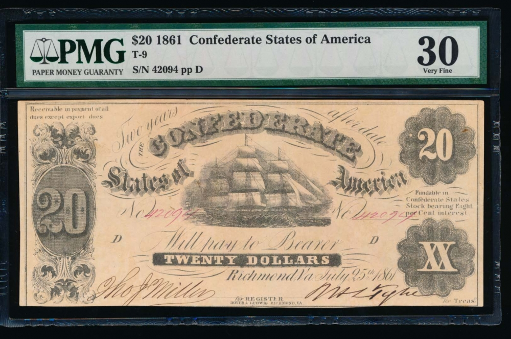 Fr. T-9 1861 $20  Confederate  PMG 30 comment 42094