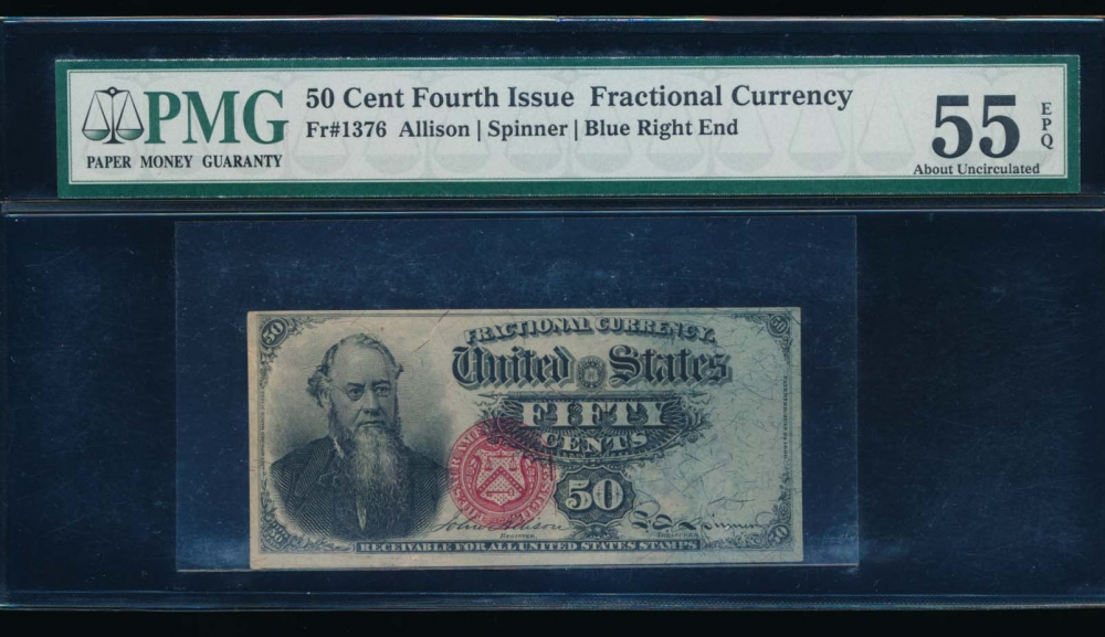 Fr. 1376 1869 $0.50  Fractional Fourth Issue: Blue Right End PMG 55EPQ no serial number