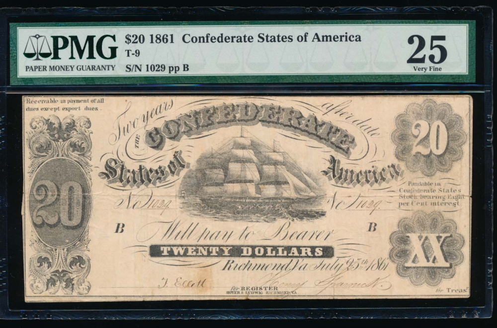 Fr. T-9 1861 $20  Confederate  PMG 25 comment 1029