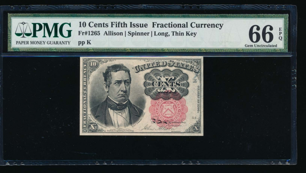 Fr. 1265  $0.10  Fractional Fifth Issue: Long, Thin Key PMG 66EPQ no serial number
