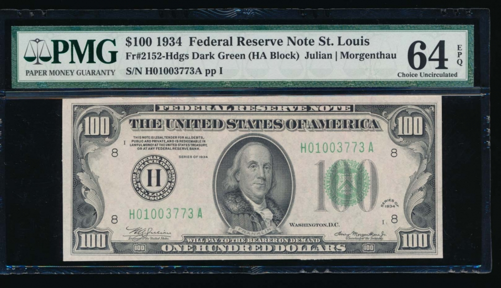 Fr. 2152-H 1934 $100  Federal Reserve Note Saint Louis PMG 64EPQ H01003773A