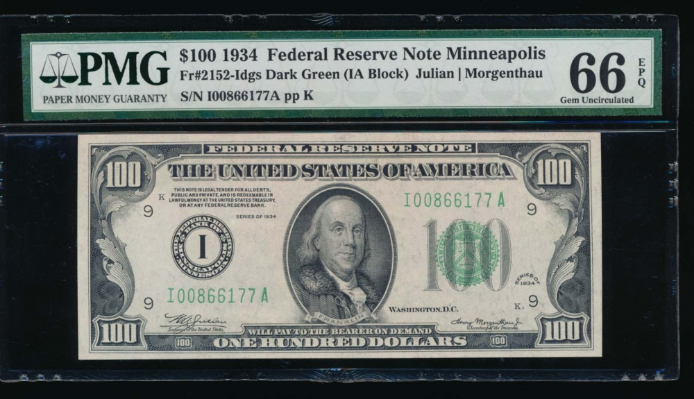Fr. 2152-I 1934 $100  Federal Reserve Note Minneapolis PMG 66EPQ I00866177A