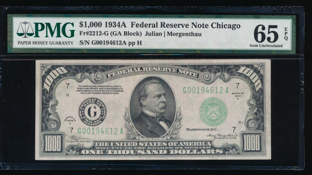 Fr. 2212-G 1934A $1,000  Federal Reserve Note Chicago PMG 65EPQ G00194612A