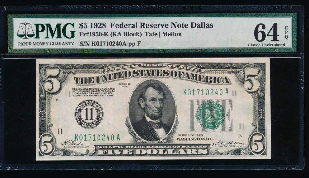 Fr. 1950-K 1928 $5  Federal Reserve Note Dallas PMG 64EPQ K01710240A