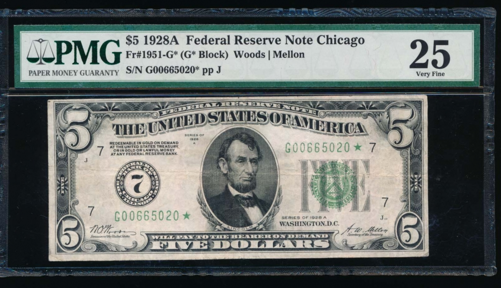Fr. 1951-G 1928A $5  Federal Reserve Note Chicago star PMG 25 comment G00665020*