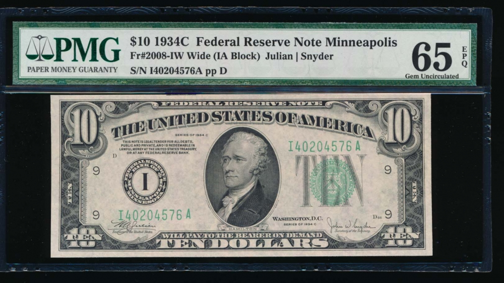 Fr. 2008-I 1934C $10  Federal Reserve Note Wide, Minneapolis PMG 65EPQ I40204576A