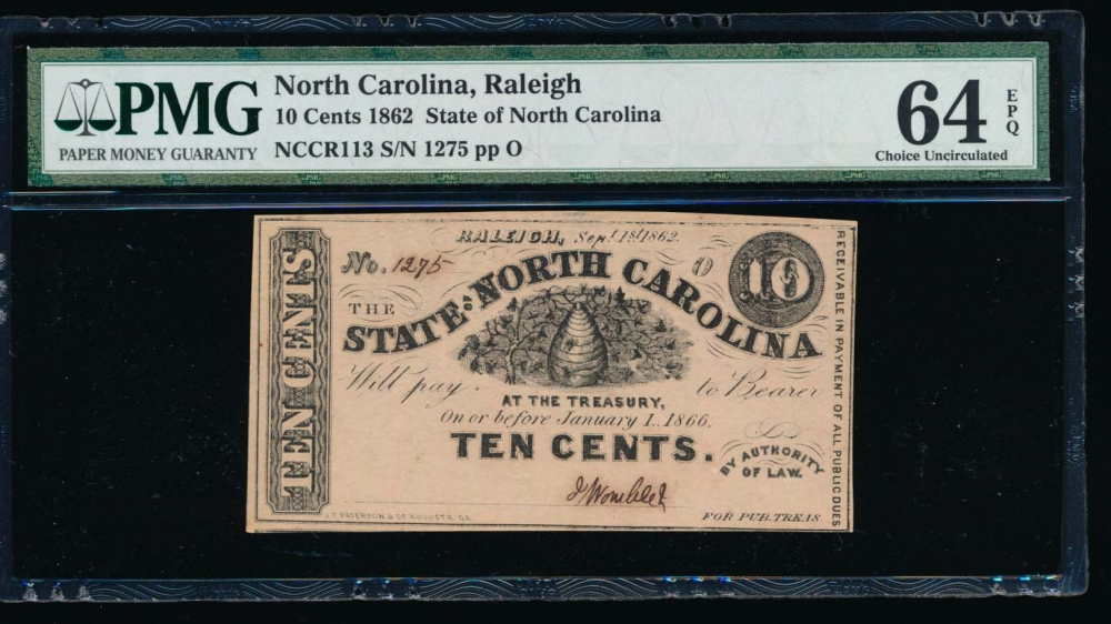 Fr. Cr NC-113 1862 $0.10  Obsolete State of North Carolina, Raleigh PMG 64EPQ 1275 o