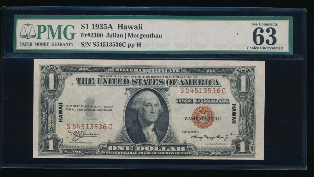 Fr. 2300 1935A $1  Hawaii SC block PMG 63EPQ S54513536C