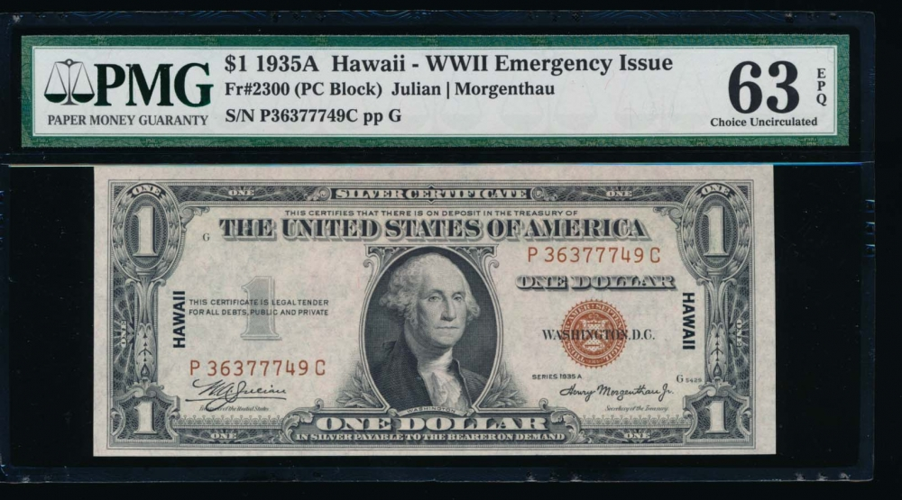 Fr. 2300 1935A $1  Hawaii PC block PMG 63EPQ P36377749C obverse