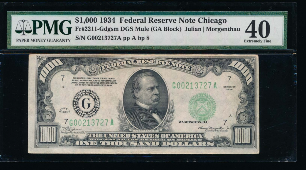 Fr. 2211-G 1934 $1,000  Federal Reserve Note Chicago PMG 40 G00213727A