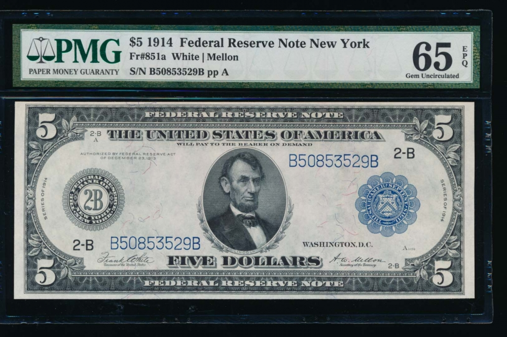 Fr. 851a 1914 $5  Federal Reserve Note New York PMG 65EPQ B50853529B