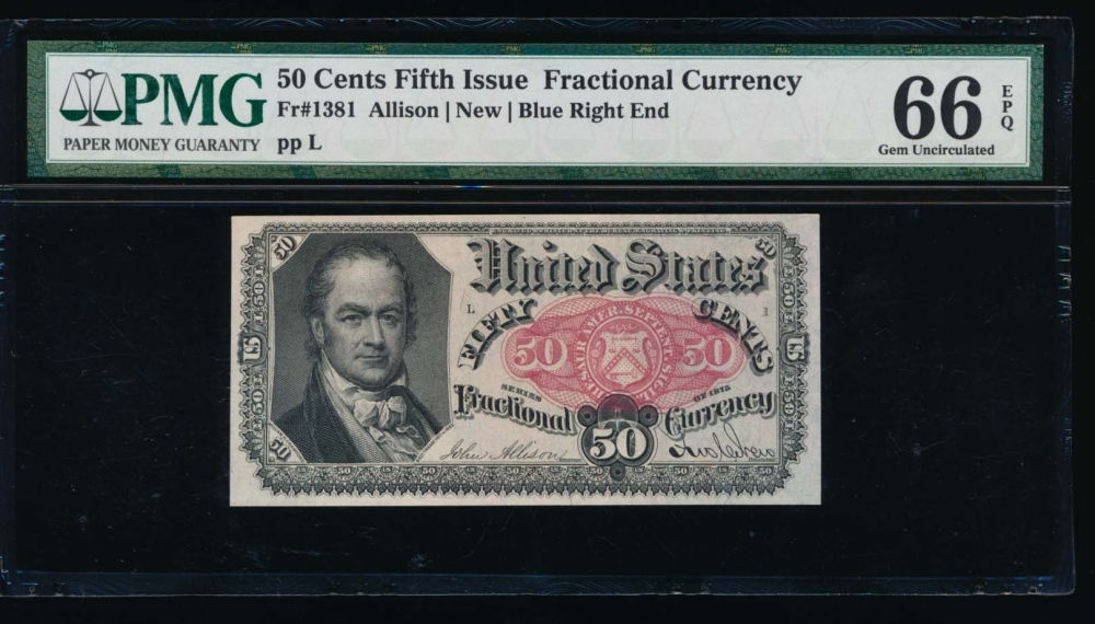 Fr. 1381  $0.50  Fractional Fifth Issue: Blue Right End PMG 66EPQ no serial number