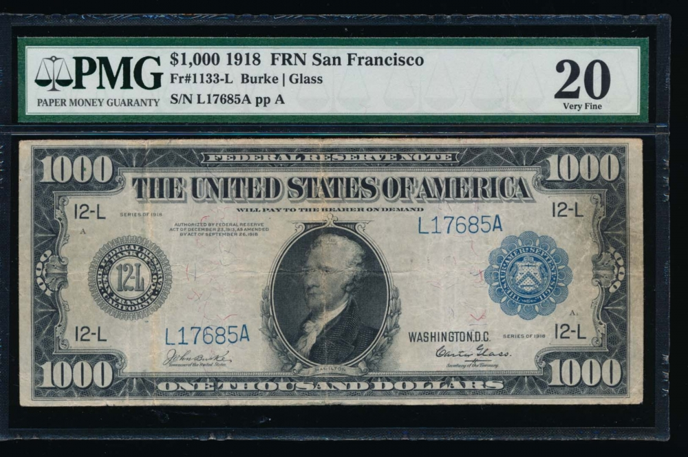 Fr. 1133-L 1918 $1,000  Federal Reserve Note San Francisco PMG 20 L17685A