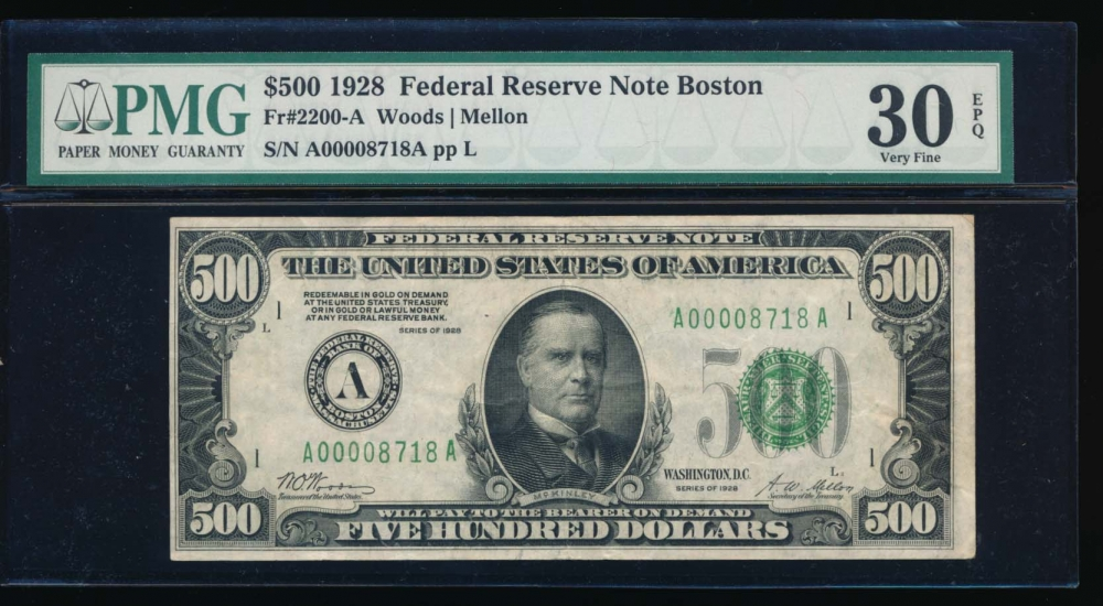 Fr. 2200-A 1928 $500  Federal Reserve Note Boston PMG 30EPQ A00008718A