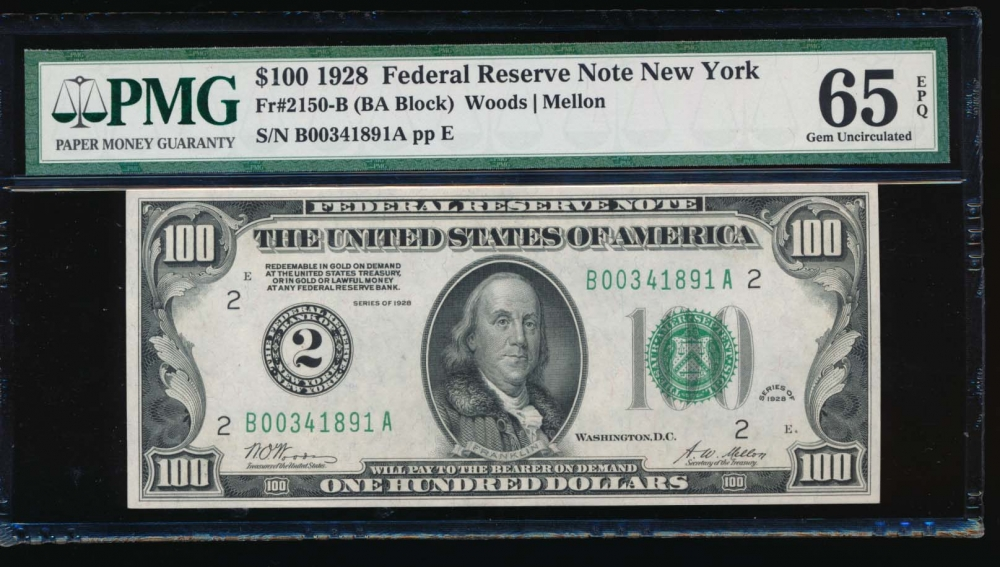 Fr. 2150-B 1928 $100  Federal Reserve Note New York PMG 65EPQ B00341891A
