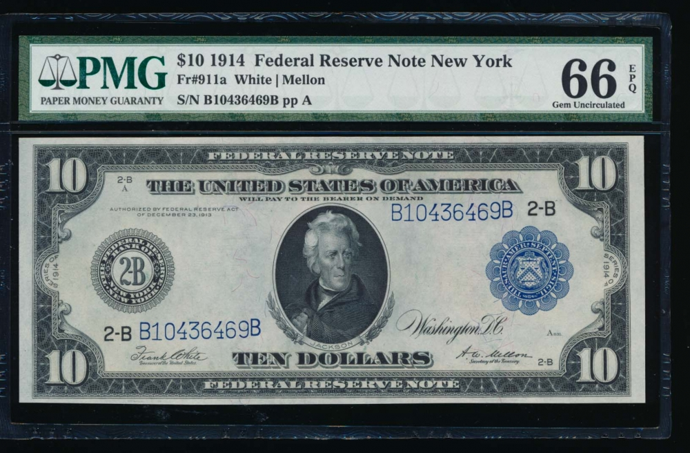Fr. 911a 1914 $10  Federal Reserve Note New York PMG 66EPQ B10436469B