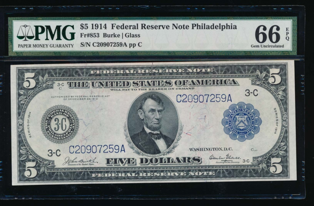 Fr. 853 1914 $5  Federal Reserve Note Philadelphia PMG 66EPQ C20907259A