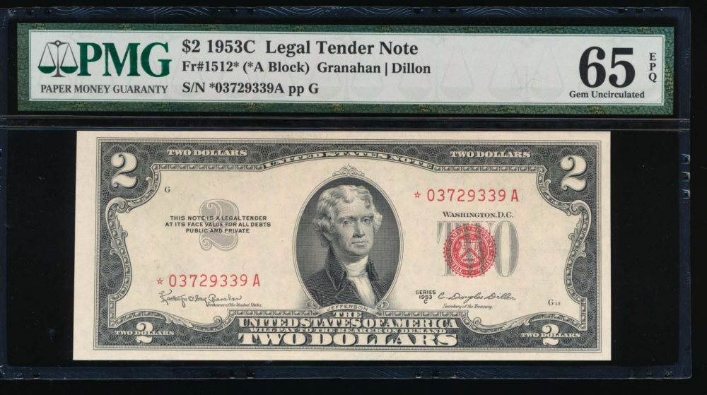 Fr. 1512 1953C $2  Legal Tender *A block PMG 65EPQ *03729339A