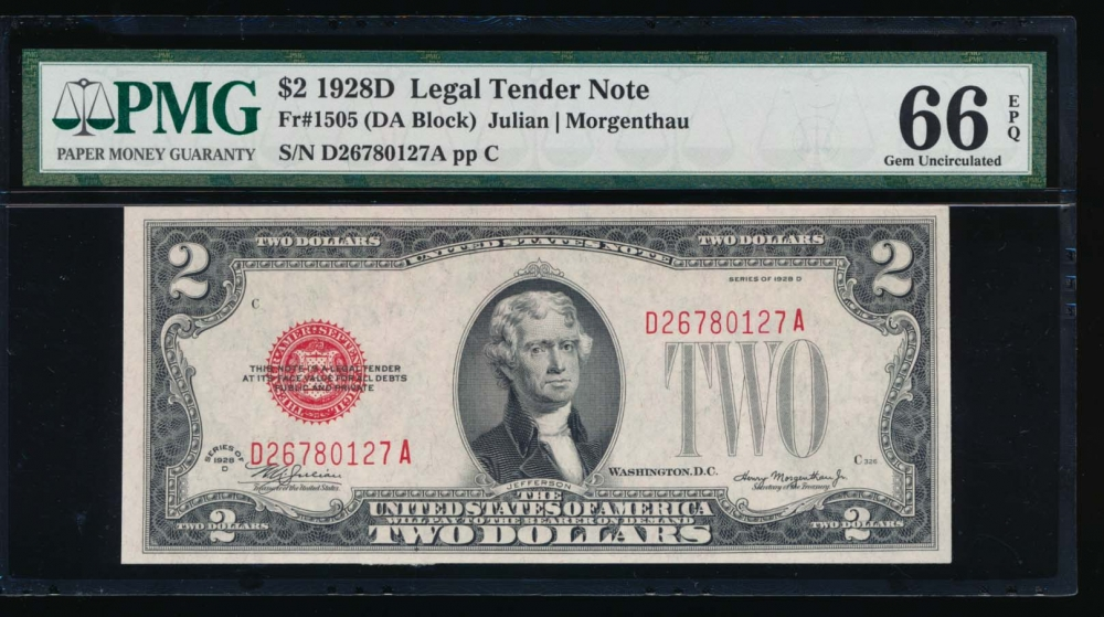 Fr. 1505 1928D $2  Legal Tender DA block PMG 66EPQ D26780127A