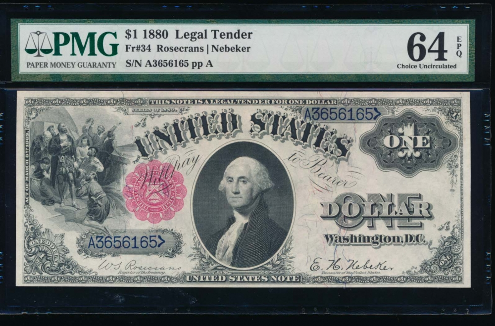 Fr. 34 1880 $1  Legal Tender  PMG 64EPQ A3656165 obverse
