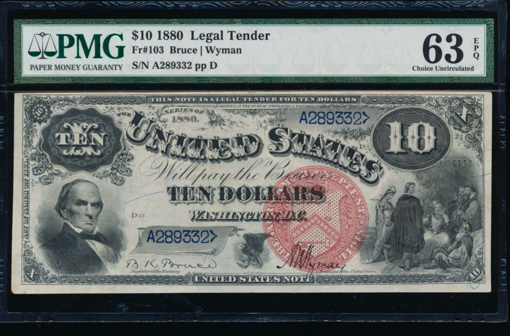 Fr. 103 1880 $10  Legal Tender  PMG 63EPQ A289332