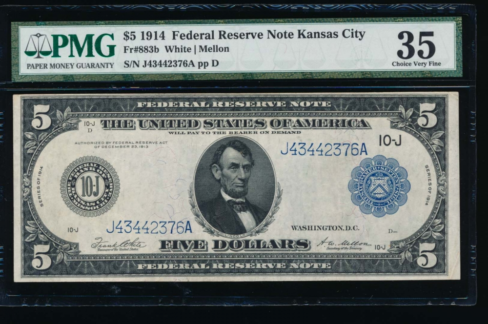Fr. 833b 1914 $5  Federal Reserve Note San Francisco PMG 35 J43442376A