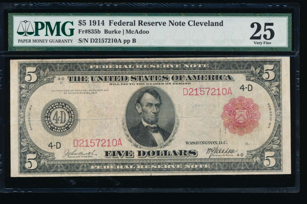 Fr. 835b 1914 $5  Federal Reserve Note red seal Cleveland PMG 25 D2157210A