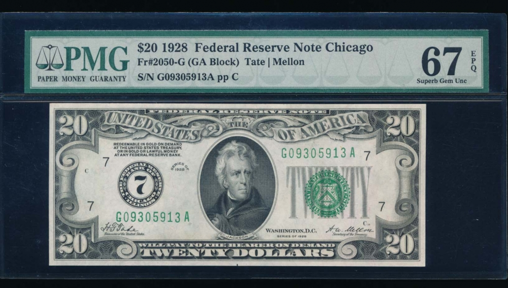 Fr. 2050-G 1928 $20  Federal Reserve Note Chicago PMG 67EPQ G09305913A