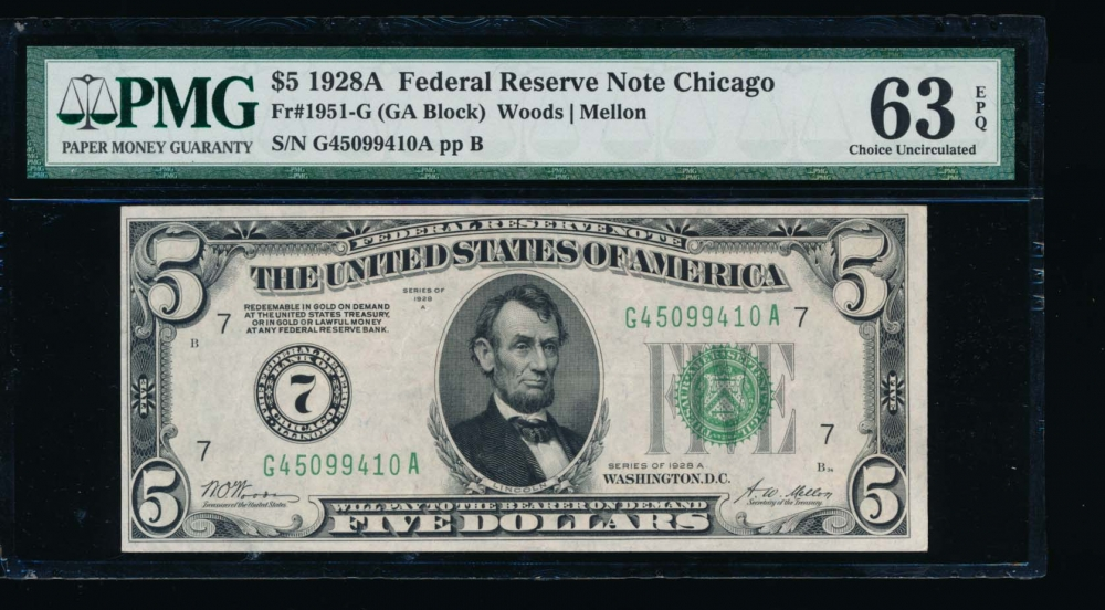 Fr. 1951-G 1928A $5  Federal Reserve Note Chicago PMG 63EPQ G45099410A