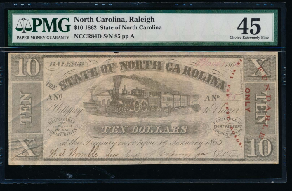 Fr. Cr NC-84D 1862 $10  Obsolete State of North Carolina, Raleigh PMG 45 85A