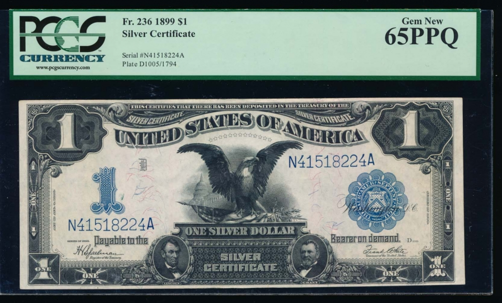 Fr. 236 1899 $1  Silver Certificate  PCGS 65PPQ N41518224A obverse