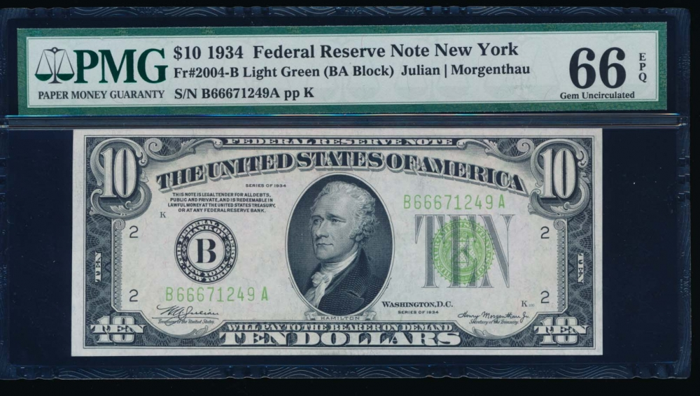 Fr. 2004-B 1934 $10  Federal Reserve Note New York LGS PMG 66EPQ B66671249A