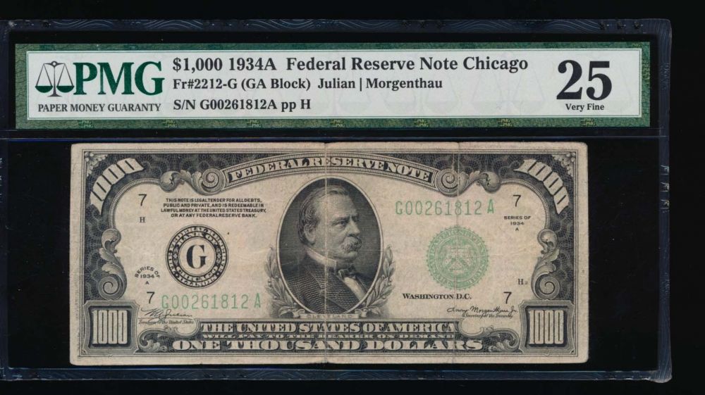 Fr. 2212-G 1934A $1,000  Federal Reserve Note Chicago PMG 25 G00261812A