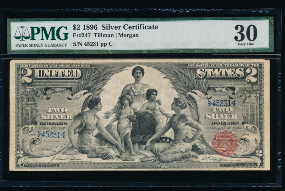 Fr. 247 1896 $2  Silver Certificate  PMG 30 45231